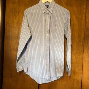 Ralph Lauren Dress Shirt - Blue/ Salmon Custom Fit